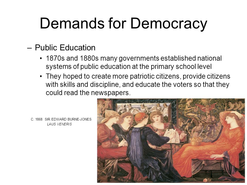 Demands for Democracy –P–Public Education 1870s and 1880s many governments established national systems of public education at the primary school level They hoped to create more patriotic citizens, provide citizens with skills and discipline, and educate the voters so that they could read the newspapers.