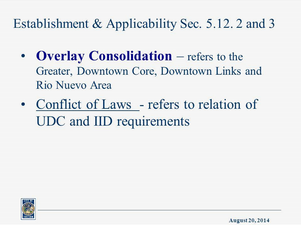 August 20, 2014 Establishment & Applicability Sec.