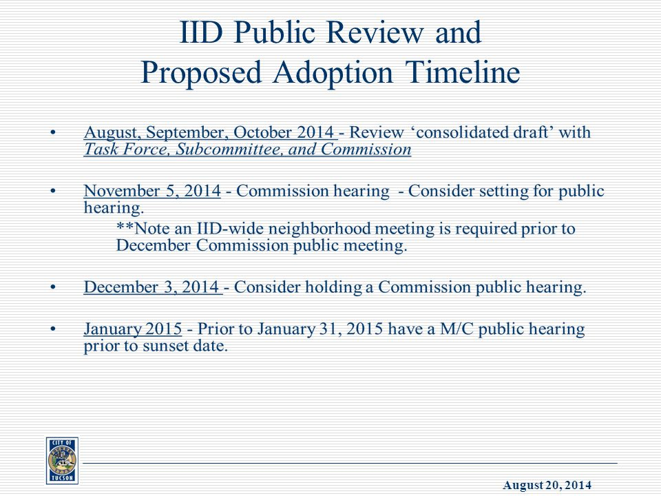 August 20, 2014 IID Public Review and Proposed Adoption Timeline