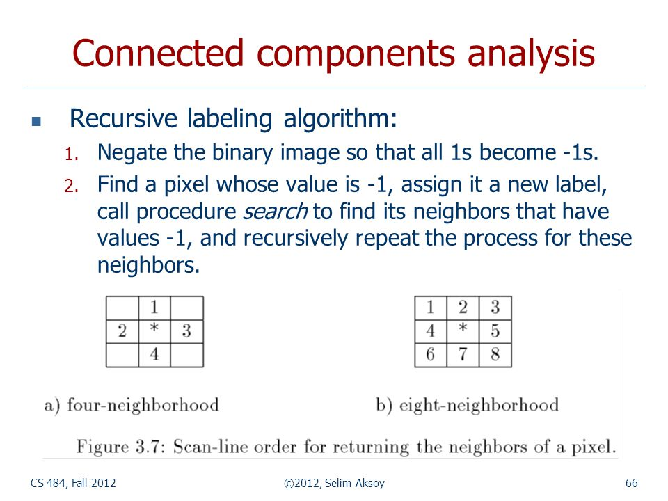 CS 484, Fall 2012©2012, Selim Aksoy66 Connected components analysis Recursive labeling algorithm: 1.