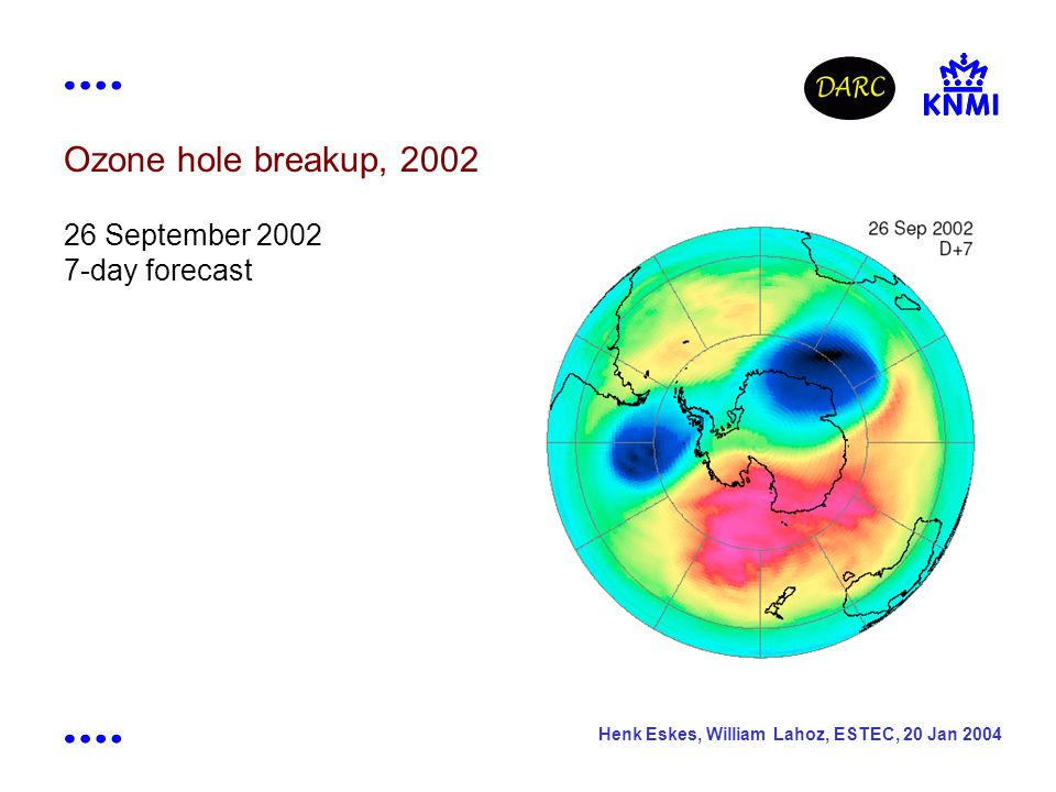 Henk Eskes, William Lahoz, ESTEC, 20 Jan 2004 Ozone hole breakup, 2002 26 September 2002 7-day forecast