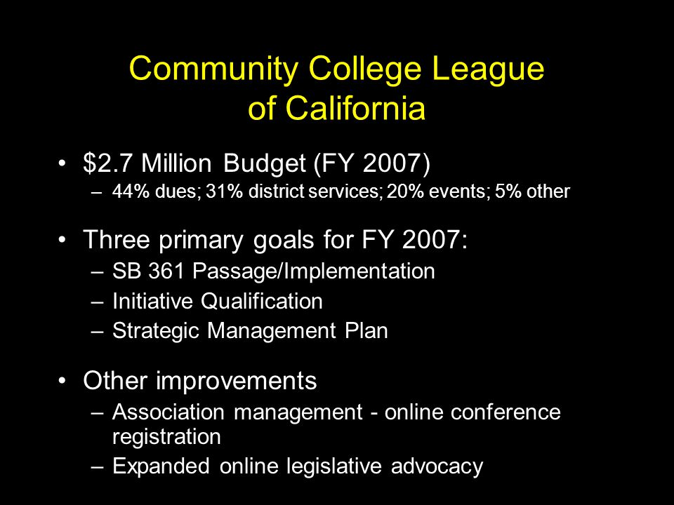 Community College Initiative Five districts have reached or exceeded their goals –Copper Mountain, Kern, Los Angeles, Los Rios, Mt.