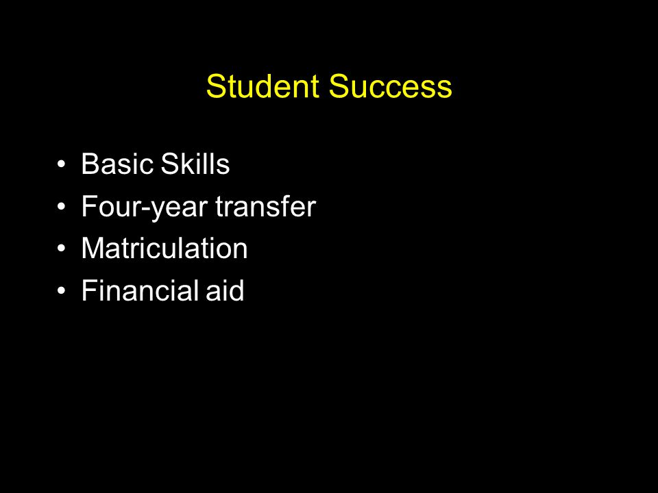 Student Success Basic Skills Four-year transfer Matriculation Financial aid