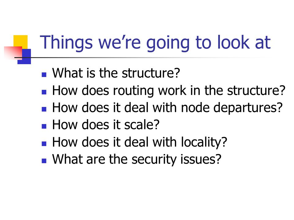 Things we're going to look at What is the structure.