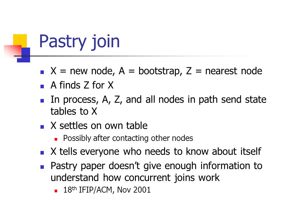 Pastry join X = new node, A = bootstrap, Z = nearest node A finds Z for X In process, A, Z, and all nodes in path send state tables to X X settles on own table Possibly after contacting other nodes X tells everyone who needs to know about itself Pastry paper doesn't give enough information to understand how concurrent joins work 18 th IFIP/ACM, Nov 2001