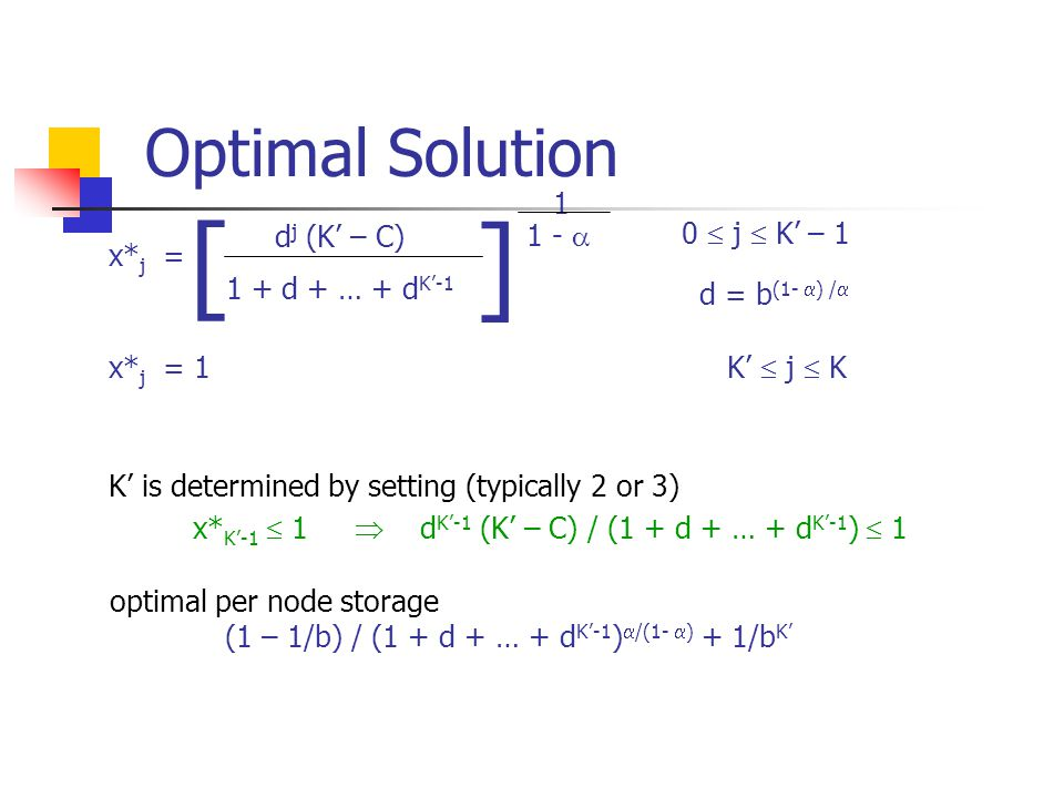 Optimal Solution d j (K' – C) 1 + d + … + d K'-1 1 1 -  [ ] x* j = 0  j  K' – 1 d = b (1-  ) /  x* j = 1 K'  j  K K' is determined by setting (typically 2 or 3) x* K'-1  1  d K'-1 (K' – C) / (1 + d + … + d K'-1 )  1 optimal per node storage (1 – 1/b) / (1 + d + … + d K'-1 )  /(1-  ) + 1/b K'