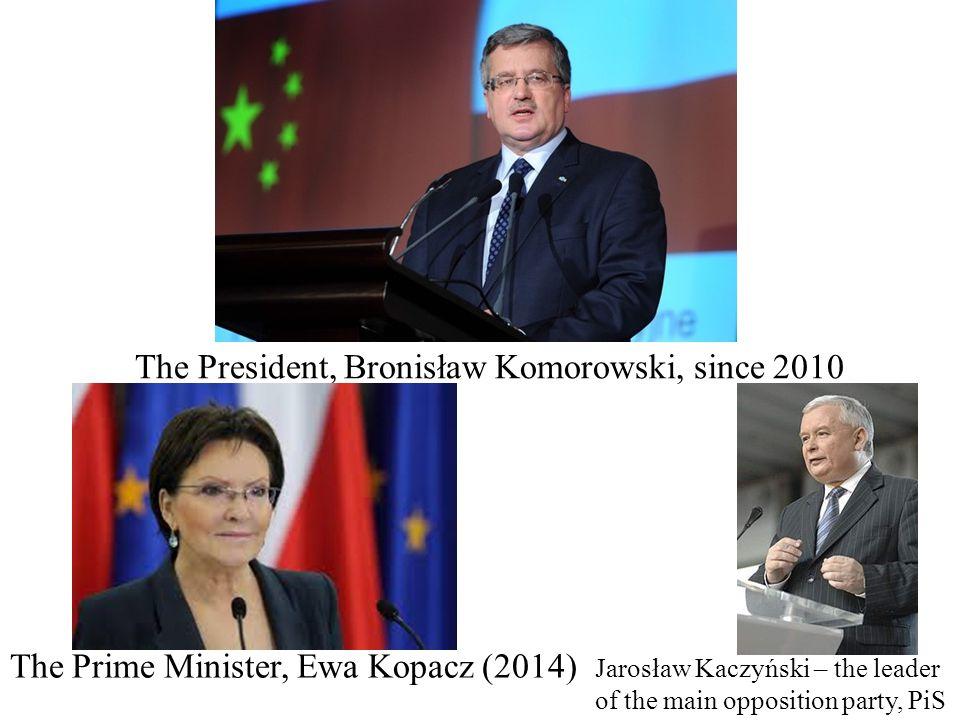 Key persons The President, Bronisław Komorowski, since 2010 The Prime Minister, Ewa Kopacz (2014) Jarosław Kaczyński – the leader of the main opposition party, PiS
