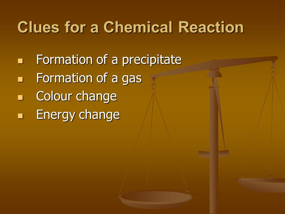 Clues for a Chemical Reaction Formation of a precipitate Formation of a precipitate Formation of a gas Formation of a gas Colour change Colour change Energy change Energy change