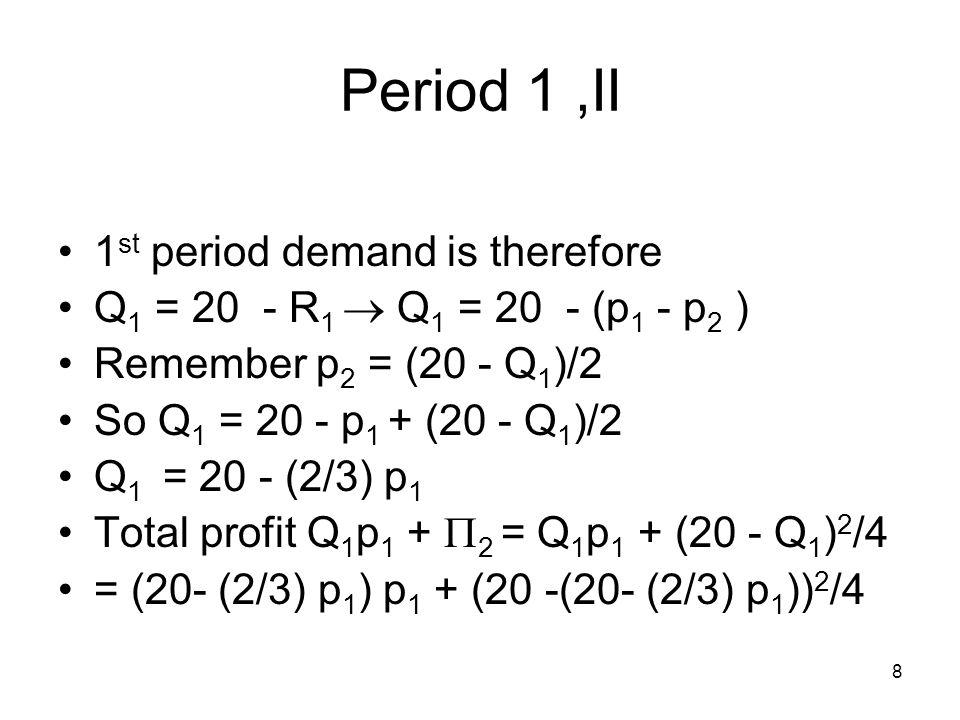 9 Period 1, III (20- (2/3) p 1 ) p 1 + (20 -(20- (2/3)p 1 )) 2 /4 Maximize wrt p 1.