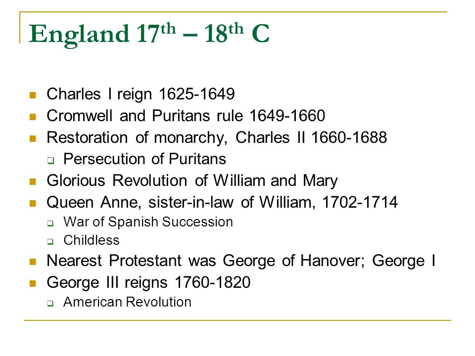 France 17 th, 18 th C Henry IV reigns 1584-1610  Edict of Nantes, 1598, granting toleration to Protestants Louis XIV (Sun King) reigns 1643-1715  Becomes King at age 5; real power was Cardinal Richelieu Reduced power of nobility, increased power of throne Encouraged Gallicanism  Absolute Monarch, period of stability and strength  Revives (invents) French culture; Versailles center of France  French Church sees itself as a national Church aligned with throne  Revokes Treaty of Nantes, 1685; persecution of Protestants Louis XV  French and Indian War in North America (Seven Year's War in Europe)  France looses all her North American Colonies Louis XVI reigns 1774-1792  Paris center of France  Initially encourages Enlightenment ideas  Supports American Revolution  Economic depression, leading to Revolution  Executed during Revolution Revolutionary Governments Napoleon