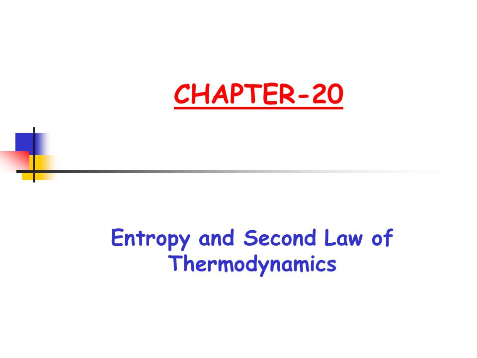 CHAPTER-20 Entropy and Second Law of Thermodynamics