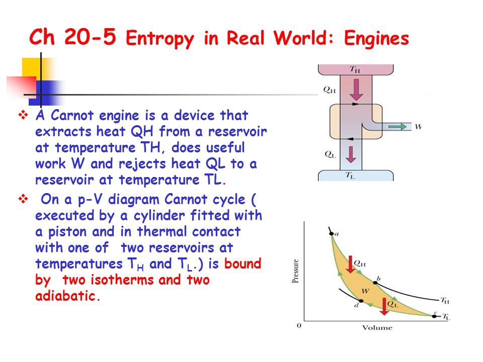  A Carnot engine is a device that extracts heat QH from a reservoir at temperature TH, does useful work W and rejects heat QL to a reservoir at tempe