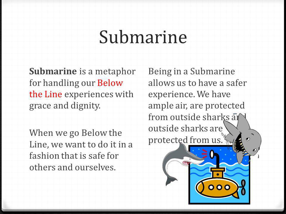 Submarine Submarine is a metaphor for handling our Below the Line experiences with grace and dignity. When we go Below the Line, we want to do it in a
