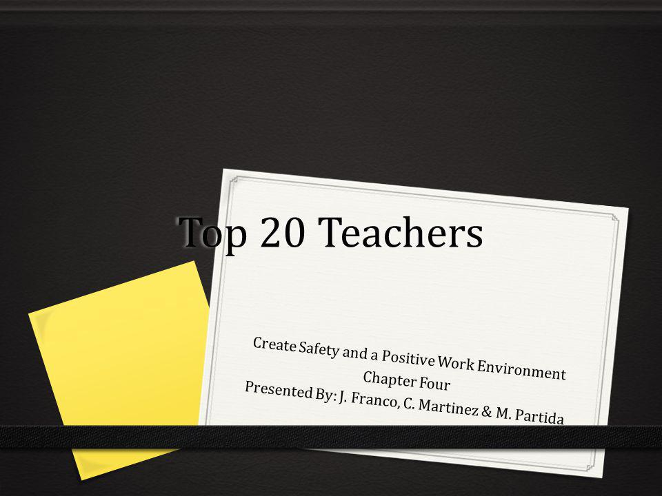 Top 20 Teachers Create Safety and a Positive Work Environment Chapter Four Presented By: J. Franco, C. Martinez & M. Partida
