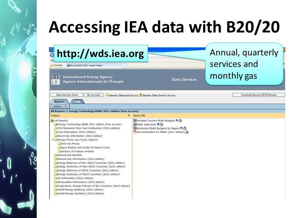Accessing IEA data with B20/20 http://wds.iea.org Annual, quarterly services and monthly gas