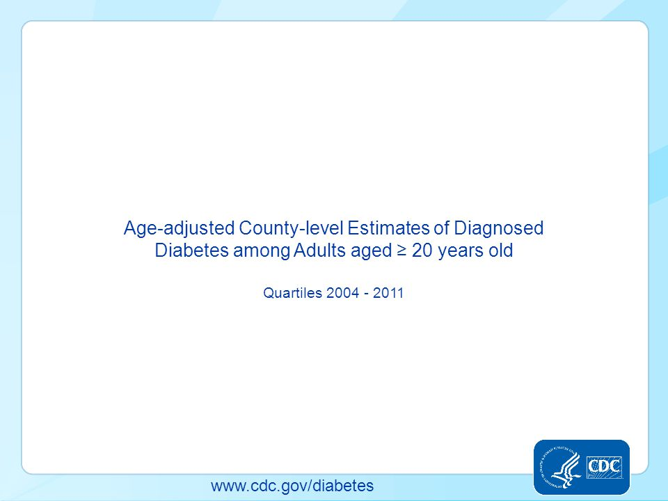 www.cdc.gov/diabetes Age-adjusted County-level Estimates of Diagnosed Diabetes among Adults aged ≥ 20 years old Quartiles 2004 - 2011