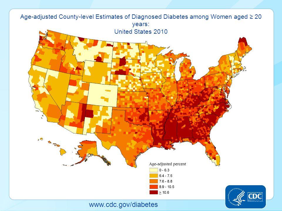 www.cdc.gov/diabetes Age-adjusted County-level Estimates of Diagnosed Diabetes among Women aged ≥ 20 years: United States 2010