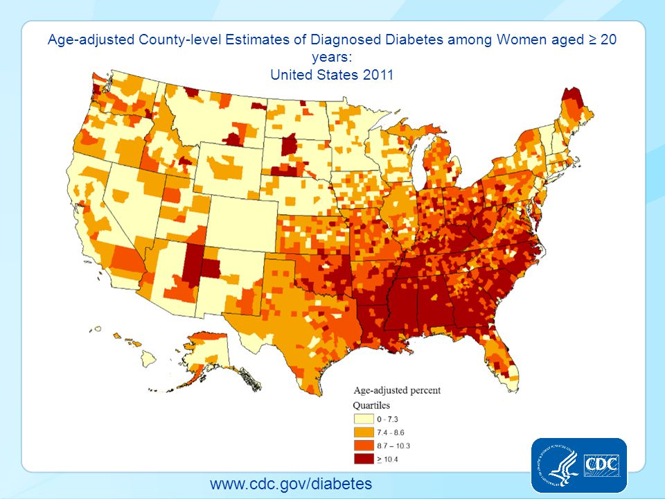 www.cdc.gov/diabetes Age-adjusted County-level Estimates of Diagnosed Diabetes among Women aged ≥ 20 years: United States 2011