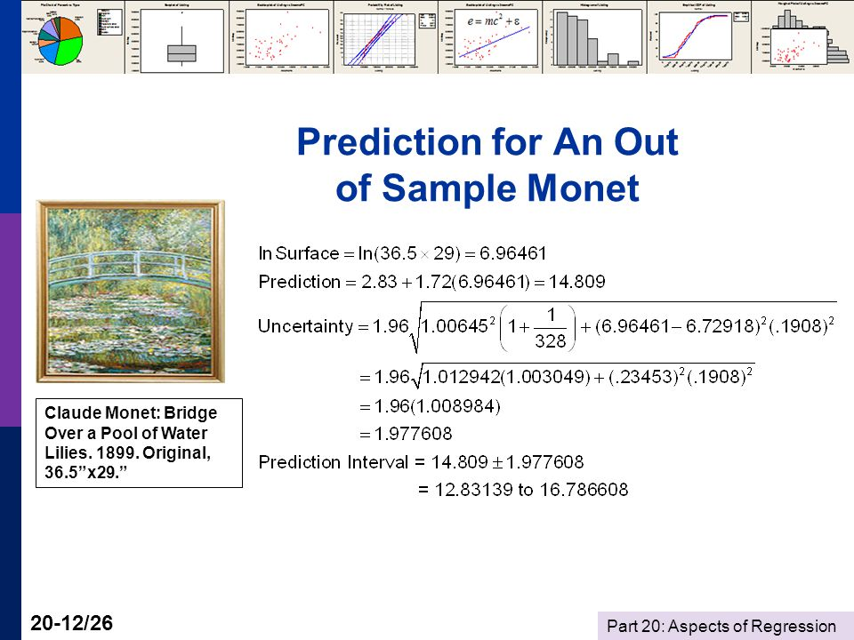 Part 20: Aspects of Regression 20-12/26 Prediction for An Out of Sample Monet Claude Monet: Bridge Over a Pool of Water Lilies.