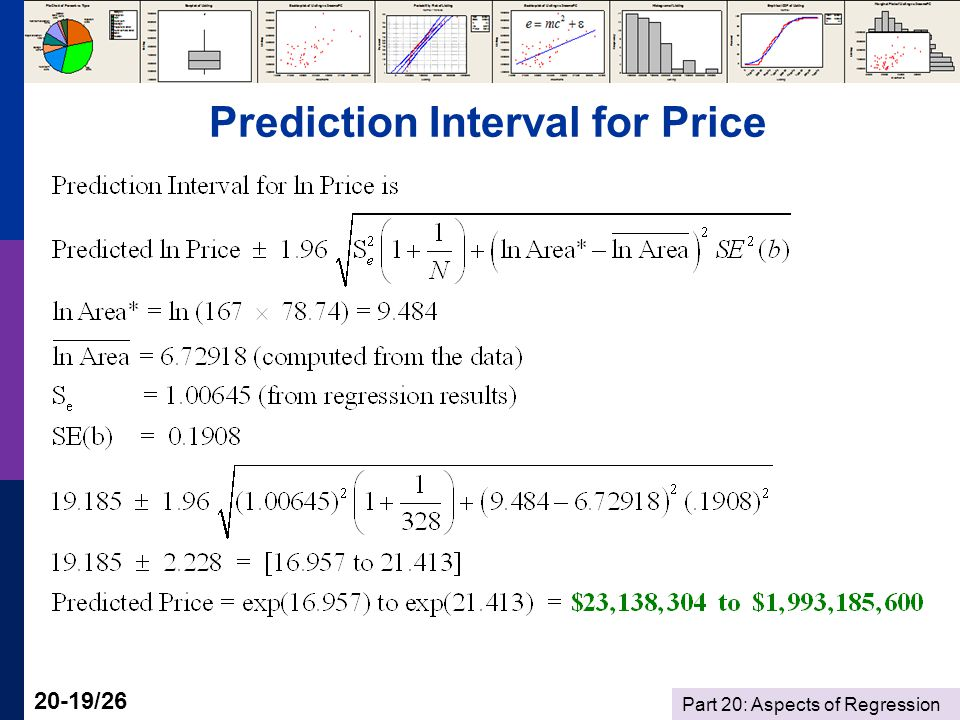 Part 20: Aspects of Regression 20-19/26 Prediction Interval for Price