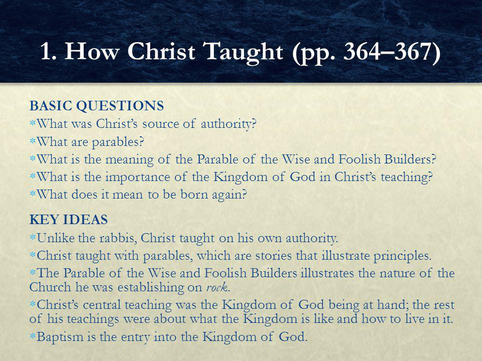 BASIC QUESTIONS  What was Christ's source of authority.