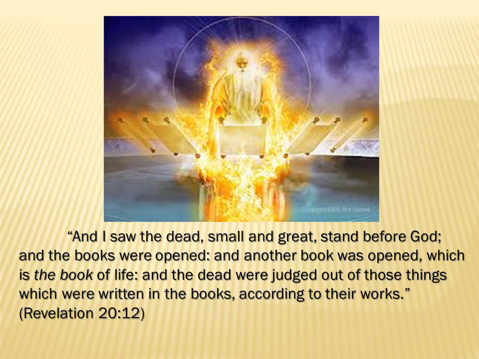 And I saw the dead, small and great, stand before God; and the books were opened: and another book was opened, which is the book of life: and the dead were judged out of those things which were written in the books, according to their works. (Revelation 20:12)
