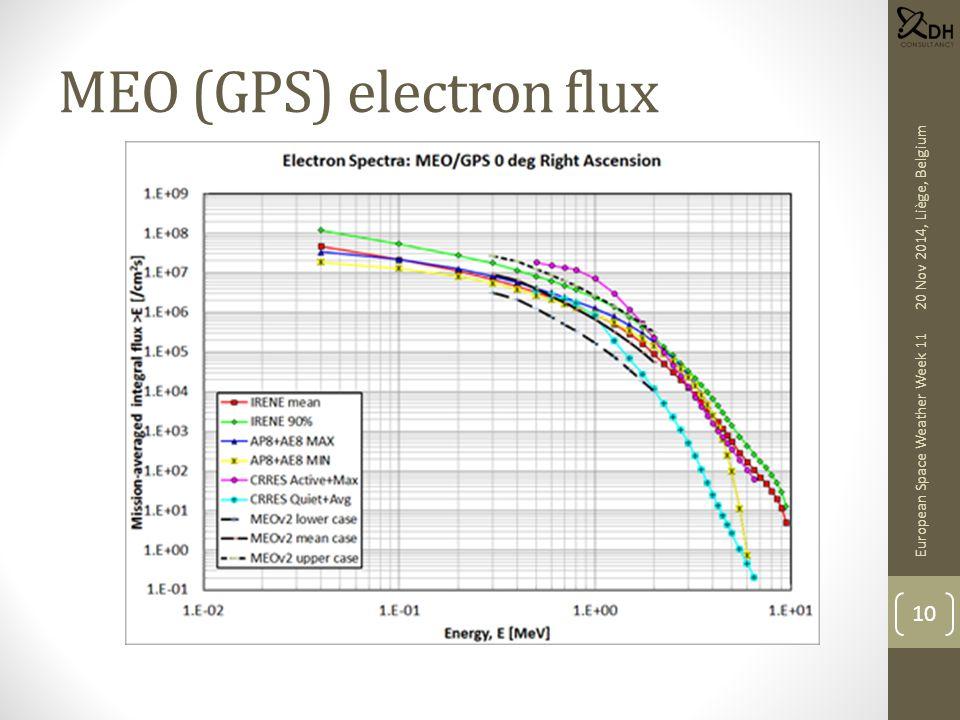 MEO (GPS) electron flux European Space Weather Week 11 10 20 Nov 2014, Liège, Belgium