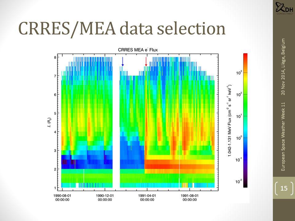 CRRES/MEA data selection European Space Weather Week 11 15 20 Nov 2014, Liège, Belgium