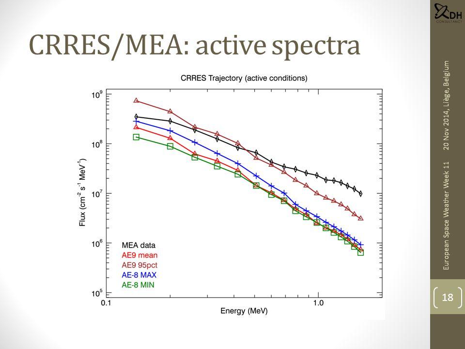 CRRES/MEA: active spectra European Space Weather Week 11 18 20 Nov 2014, Liège, Belgium