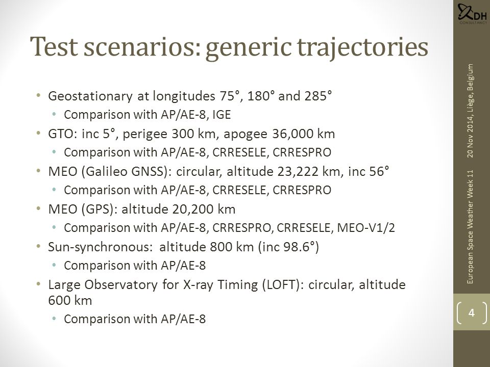 Test scenarios: generic trajectories Geostationary at longitudes 75°, 180° and 285° Comparison with AP/AE-8, IGE GTO: inc 5°, perigee 300 km, apogee 3