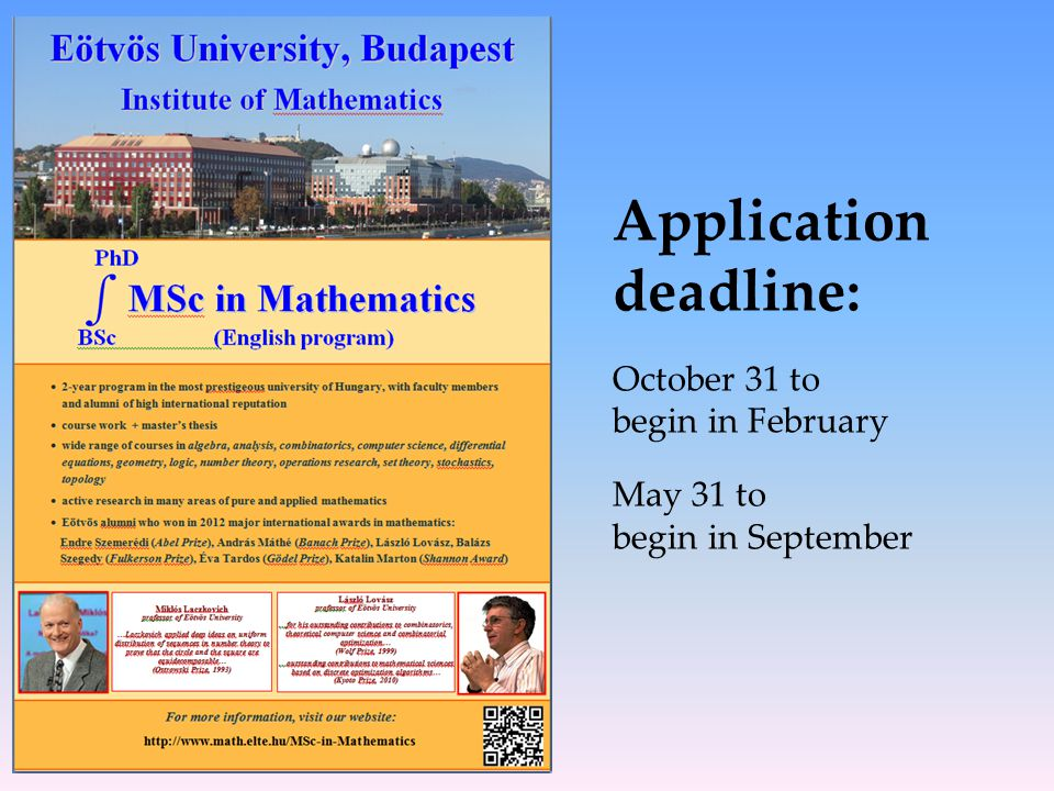 Application deadline: October 31 to begin in February May 31 to begin in September