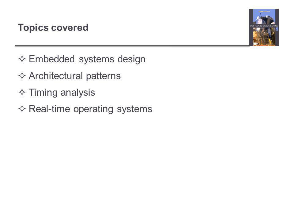 Topics covered  Embedded systems design  Architectural patterns  Timing analysis  Real-time operating systems