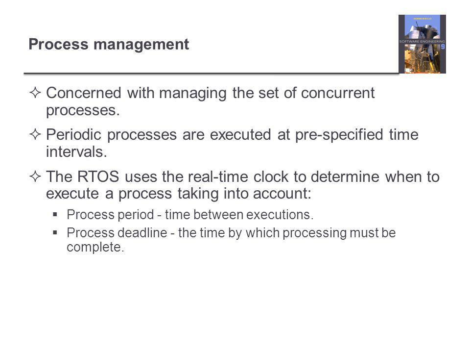 Process management  Concerned with managing the set of concurrent processes.