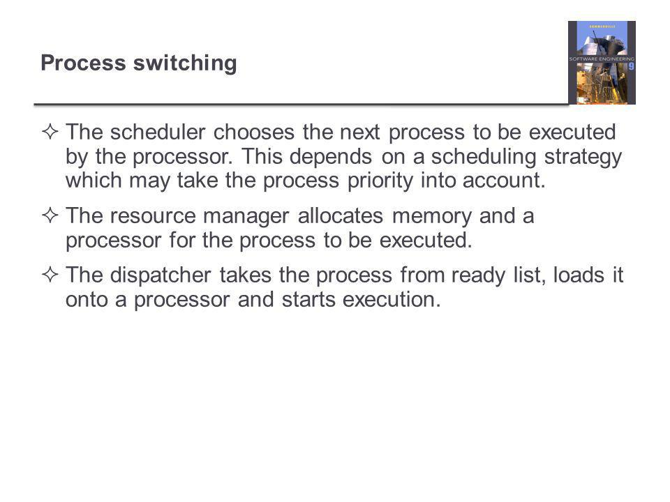 Process switching  The scheduler chooses the next process to be executed by the processor.