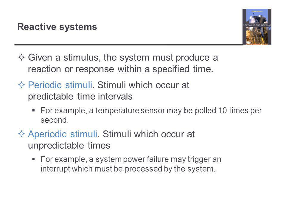 Reactive systems  Given a stimulus, the system must produce a reaction or response within a specified time.