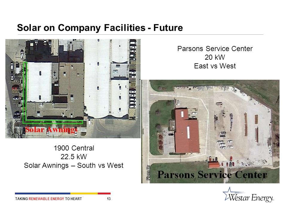 Solar on Company Facilities - Future TAKING RENEWABLE ENERGY TO HEART 13 Parsons Service Center 20 kW East vs West 1900 Central 22.5 kW Solar Awnings – South vs West