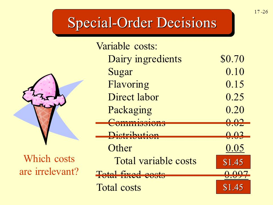 17 -26 Special-Order Decisions Variable costs: Dairy ingredients$0.70 Sugar0.10 Flavoring0.15 Direct labor0.25 Packaging0.20 Commissions0.02 Distribut