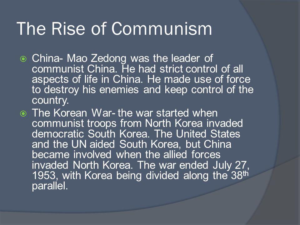 The Rise of Communism  McCarthyism- started by Senator Joseph McCarthy.