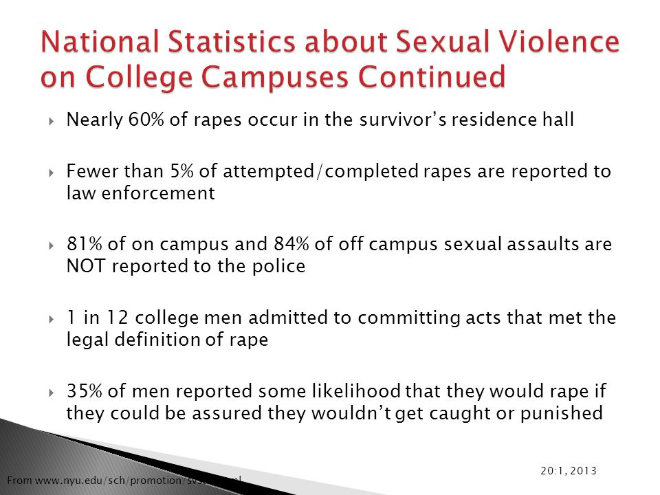  Nearly 60% of rapes occur in the survivor's residence hall  Fewer than 5% of attempted/completed rapes are reported to law enforcement  81% of on campus and 84% of off campus sexual assaults are NOT reported to the police  1 in 12 college men admitted to committing acts that met the legal definition of rape  35% of men reported some likelihood that they would rape if they could be assured they wouldn't get caught or punished 20:1, 2013 From www.nyu.edu/sch/promotion/svstat.html