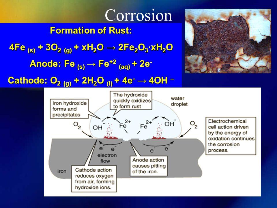 Corrosion Formation of Rust: 4Fe (s) + 3O 2 (g) + xH 2 O → 2Fe 2 O 3 ∙xH 2 O Anode: Fe (s) → Fe +2 (aq) + 2e - Cathode: O 2 (g) + 2H 2 O (l) + 4e - →
