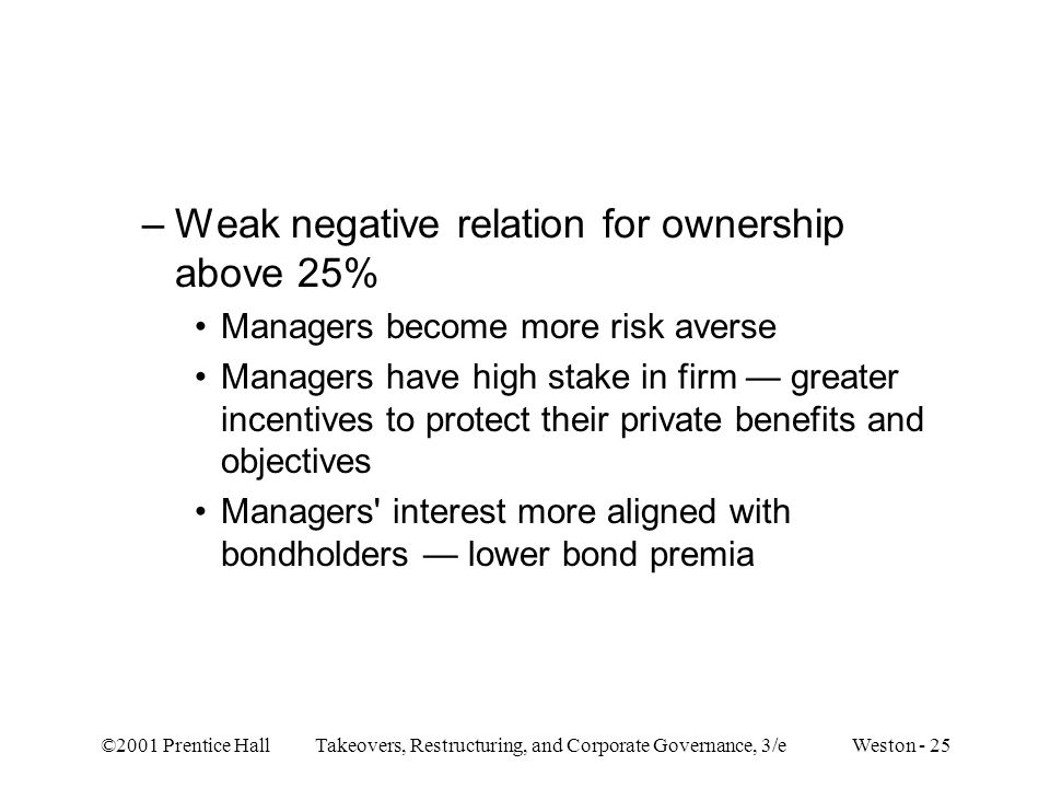 ©2001 Prentice Hall Takeovers, Restructuring, and Corporate Governance, 3/e Weston - 25 –Weak negative relation for ownership above 25% Managers becom
