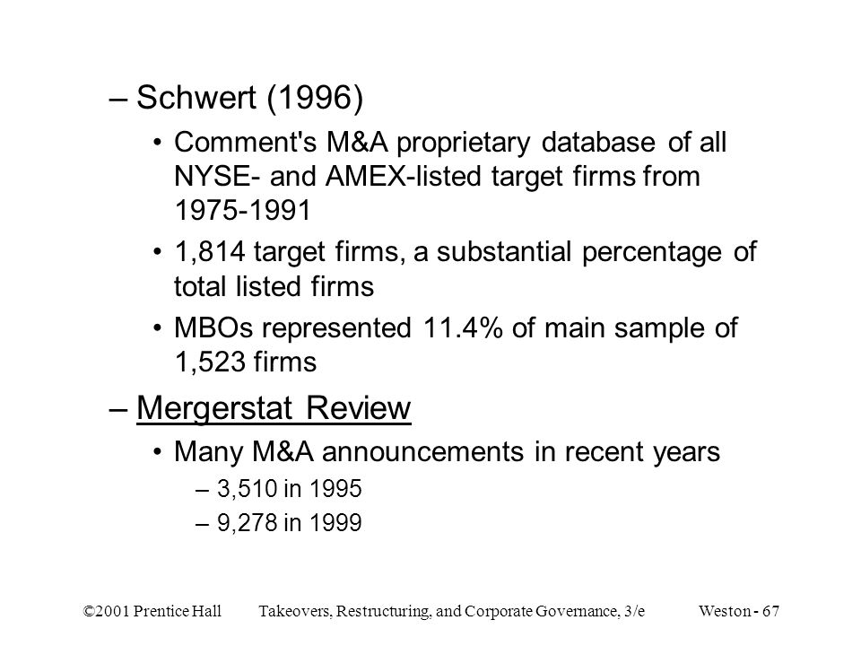 ©2001 Prentice Hall Takeovers, Restructuring, and Corporate Governance, 3/e Weston - 67 –Schwert (1996) Comment's M&A proprietary database of all NYSE