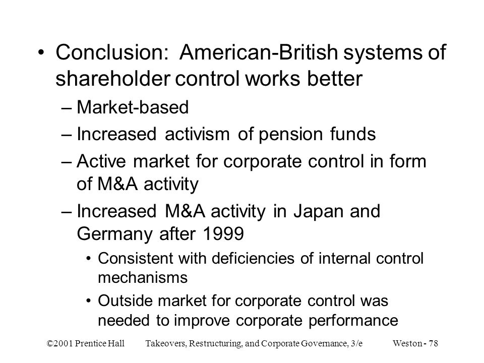 ©2001 Prentice Hall Takeovers, Restructuring, and Corporate Governance, 3/e Weston - 78 Conclusion: American-British systems of shareholder control wo