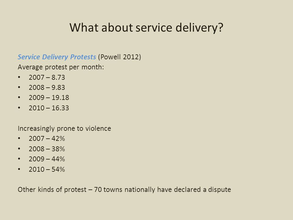 What about service delivery.