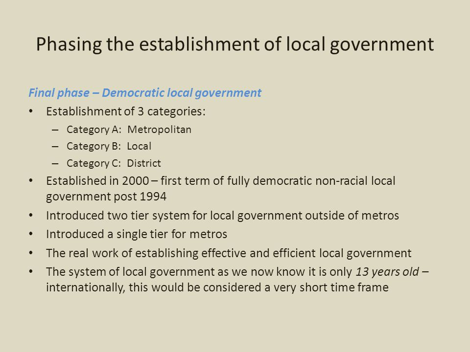 Fiscal framework and financial management Implementing the Local Government Equitable Share In 1998, a decision was taken by the then Department of Finance to determine the equitable share based on a formula to ensure that the allocations were – objective – transparent – scientific and – beyond manipulation by policy makers or municipalities Two formulae operationalised – Basic service – (S) grant – Municipal Institutional - (I) grant Number of changes occurred during this period – Formula reviewed in 2004 and implemented in the 2005/06 year Again changes – and the formula is once again under review