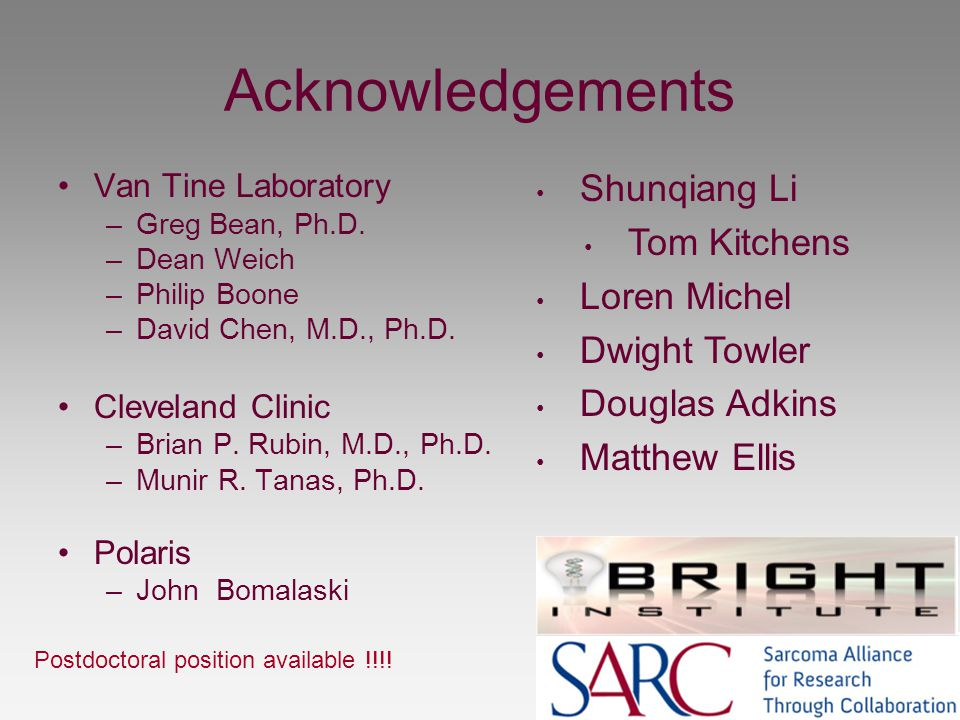 Acknowledgements Van Tine Laboratory –Greg Bean, Ph.D. –Dean Weich –Philip Boone –David Chen, M.D., Ph.D. Cleveland Clinic –Brian P. Rubin, M.D., Ph.D