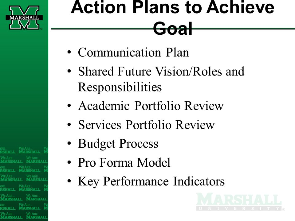 Action Plans to Achieve Goal Communication Plan Shared Future Vision/Roles and Responsibilities Academic Portfolio Review Services Portfolio Review Bu