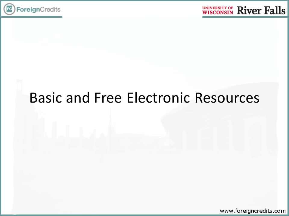 Basic and Free Electronic Resources