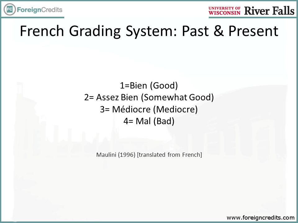 French Grading System: Past & Present 1=Bien (Good) 2= Assez Bien (Somewhat Good) 3= Médiocre (Mediocre) 4= Mal (Bad) Maulini (1996) [translated from