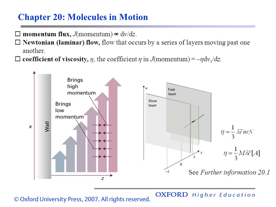 Chapter 20: Molecules in Motion  momentum flux, J(momentum)  dv/dz.  Newtonian (laminar) flow, flow that occurs by a series of layers moving past o
